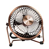 EasyAcc Mini USB Table Desktop Personal Fan (Metal Design,Antique Quiet Operation; 3.9 feet USB Cable, High Compatibility - Bronze)