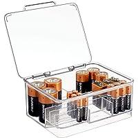 mDesign Pojemnik na baterie o różnej wielkości – pojemnik na baterie z pokrywką z tworzywa sztucznego – podzielone…