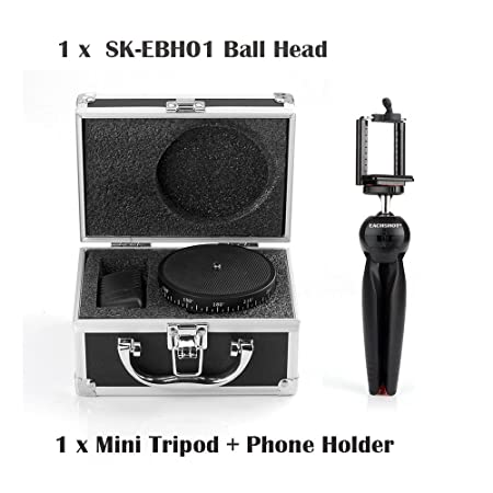 EACHSHOT SEVENOAK SK-EBH01 Electronic 360 Degree Panoramic Tripod Ball Head for iPhone 6 Plus GoPro Hero 4 3+ for Sony A7s A7r NEX-6 DSLR Camera + EACHSHOT Phone Holder Clip Desktop Self-tripod for Mi at amazon