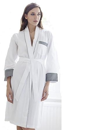 Cottonreal Ladies Deluxe Tramline Shadow Stripe White with Black Trim Kimono  - Wrap - Dressing Gown e03d132ca
