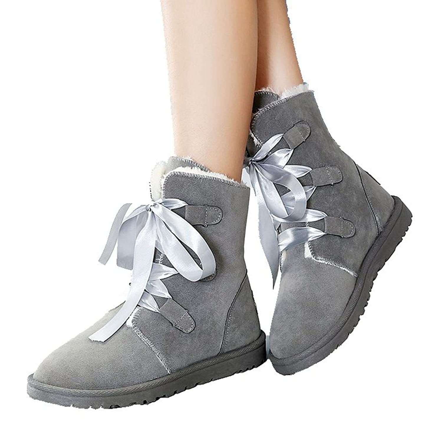 Women's Ankle Boots Winter Lace-up Warm Flat For Girl Short Fashion Snow Dress Shoes By Btrada