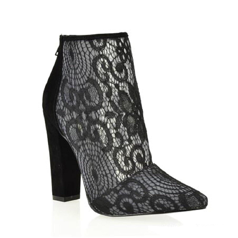 95a102688064 Shoe Republic LA CherryMad Breanna Lace Black Blue Pointy Toe Block Heel  Ankle Boots