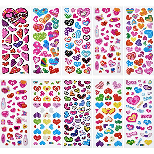 Jovitec 50 Sheets 3D Puffy Heart Stickers Dimensional Colorful Stickers for Valentine's Day, Party Decorations, Crafts, Kids and Adults]()