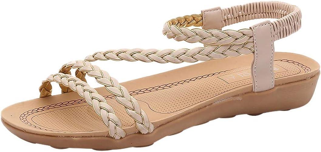 ❤Femme Boh/èMe Plat Grande Taille Casual Sandales Bout Ouvert Style Tress/ée Tong Clip Toe /Élastique Pantoufles Flip Flop Confortable Plage Sandales PANPANY