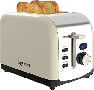 2 Slice Retro Toasters, Keenstone Stainless Steel Toaster with LED Timer Display and 1.5'' Wide Slot, Defrost/Reheat/Cancel Fuction, 6 Toasting Shade Settings, Removable Crumb Tray, Cream