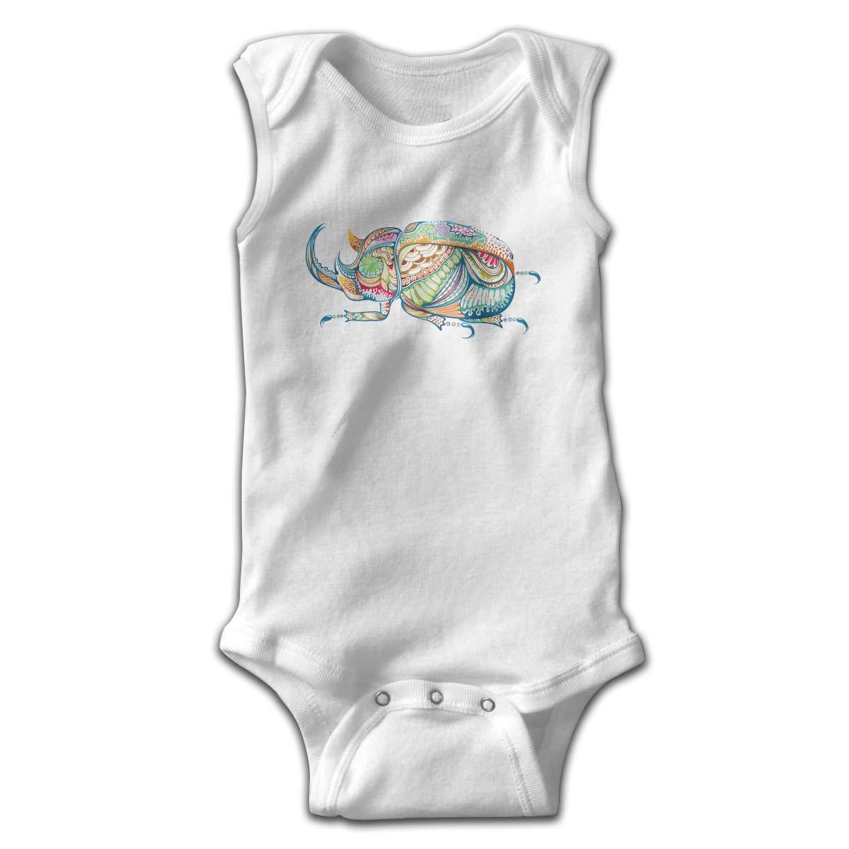 Creative Artistic Colorful The Beetle Newborn Crawling Suit Sleeveless Romper Bodysuit Onesies Jumpsuit Black