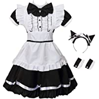 GRACIN Women's Cat Ear French Maid Costume Apron, 5 Pieces Fancy Dress Halloween Cosplay