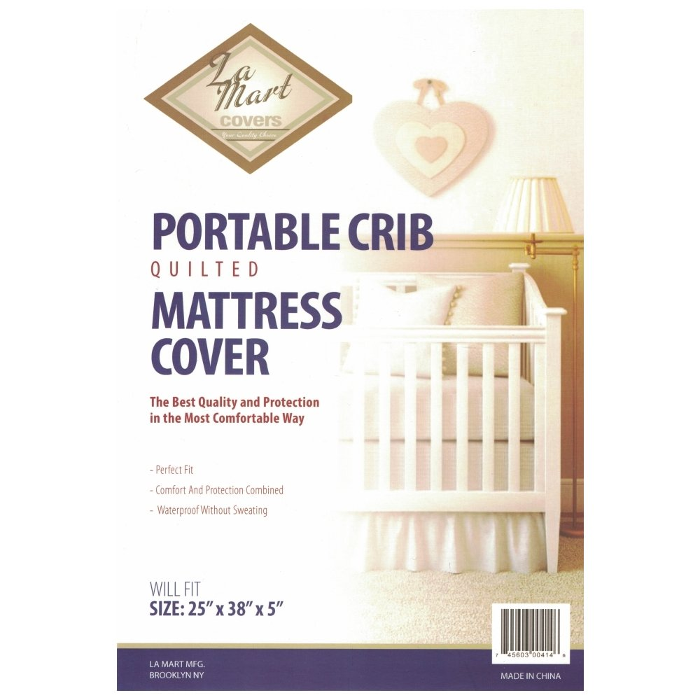 La Mart Portable Crib Quilted Mattress Cover (25'' X 38'' X 5'', White)