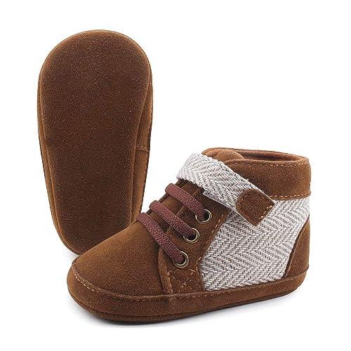 OOSAKU Zapatos de los bebé Suela de Cuero Suave de Gamuza Altas Zapatillas de Deporte Superiores Mocasines Prewalker Zapatos de Primer Caminante: Amazon.es: ...