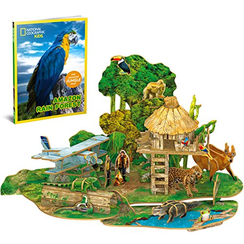 CubicFun National Geographic 3D Puzzles Model Kits Educational Toys with Booklet for Children Teens and Adults, Amazon Rain Forest kit, DS0979h ()