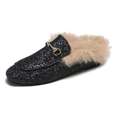ffb37842f59 Womens Glitter Mule Slides with Plush Fur Velvet Backless Square Toe Slip  On Loafers Black
