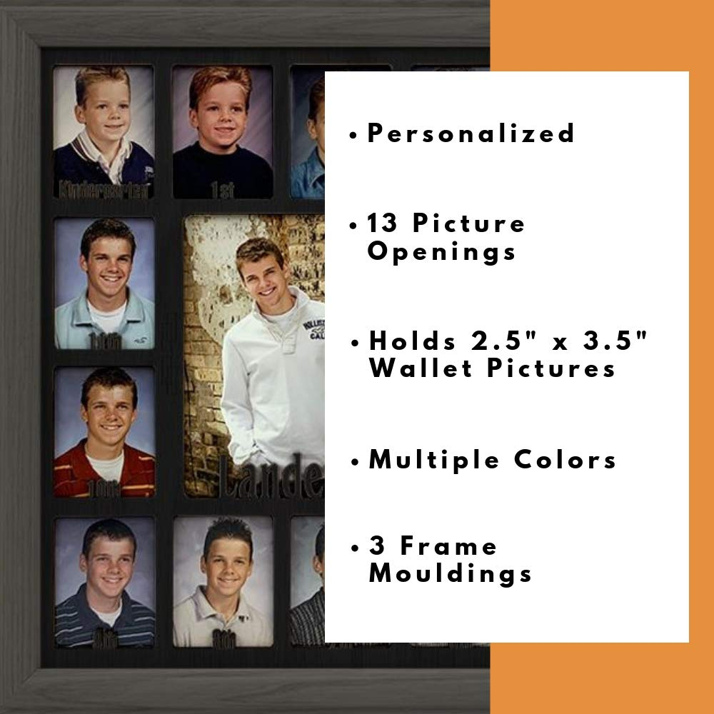 Dark Gray Frame Northland School-Years Picture Frame Personalized Black Insert Holds Twelve 2.5 x 3.5 School Photos and 5 x 7 Graduation Picture Customizable with any name