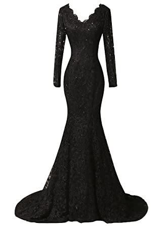 fb06617a23e Duraplast Women s Plus Size Dress Mermaid Lace Evening Long Gown With  Sleeve (Black
