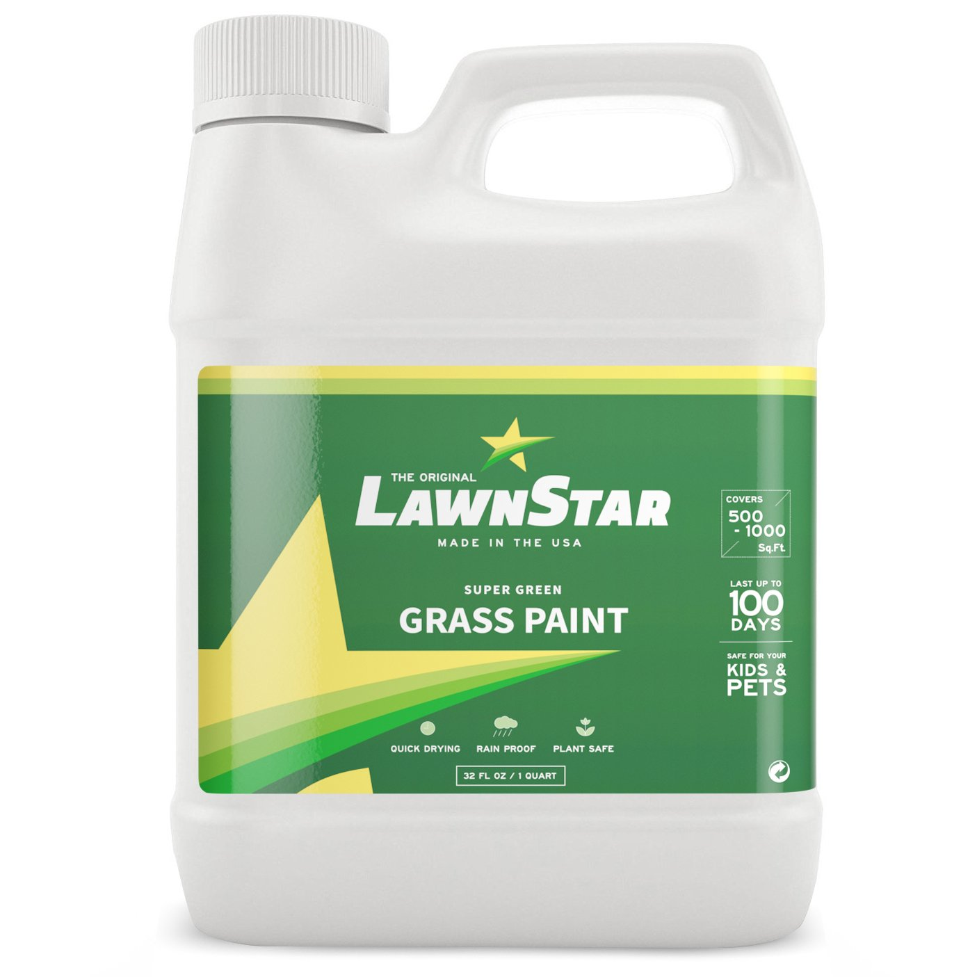 LawnStar Grass Paint, 32 fl. oz. - Makes Grass Green Again - The Non-Toxic Solution for Water Restrictions & Drought - Skyrocket Your Curb Appeal Today! (Covers 500-1,000 sq. ft.) by Lawn Star
