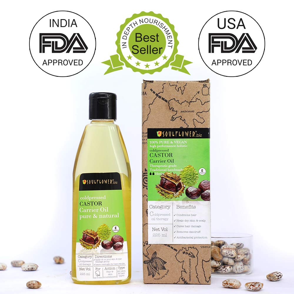 Soulflower Castor Oil for Hair, Skin and Beard Growth, 225ml product image