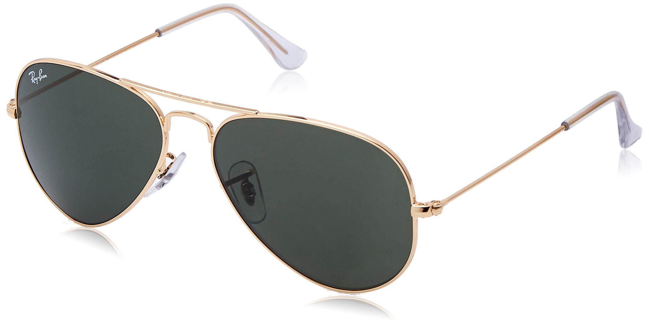RAY-BAN RB3025 Aviator Large Metal Sunglasses, Gold/Dark Green Crystal, 55 mm by RAY-BAN