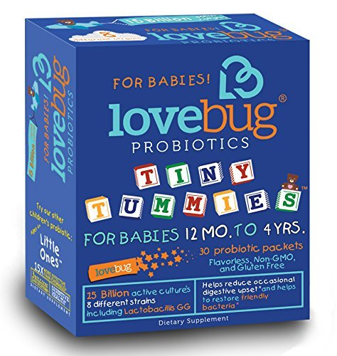 LoveBug Tiny Tummies Probiotics, 30 Packets, Probiotic support for Children 12 Months To 4 Years, Oral Probiotics Kids