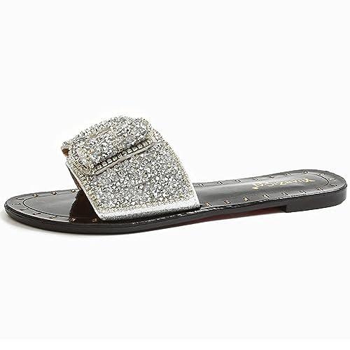Zapatillas Plateadas Señoras Verano al Aire Libre Plano Inferior arrastrado Semi Zapatillas Cuarenta Plateado: Amazon.es: Zapatos y complementos