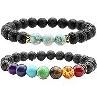 Jovivi 2pcs 7 Chakra Lava Stone Diffuser Bracelet Semi Precious Gemstone Healing Crystal Balancing Reiki Chakras Beads Stretch Couples Bracelets for Essential Oil Jewellery
