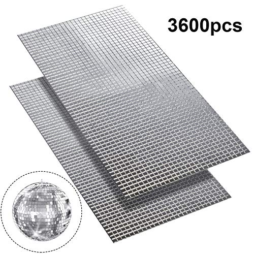 SATINIOR 3600pcs 5 x 5 mm Self-Adhesive Mini Square Glass, Decorative Craft DIY Accessory Mirrors Mosaic Tiles