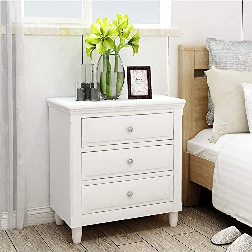 Suwikeke, Nightstand Three Drawers, Wood Bedside Storage Cabinet Furniture Fully Assembled, Accent End Side Table Chest, Perfect for Home, Bedroom Living Room Accessories, Luxe-White