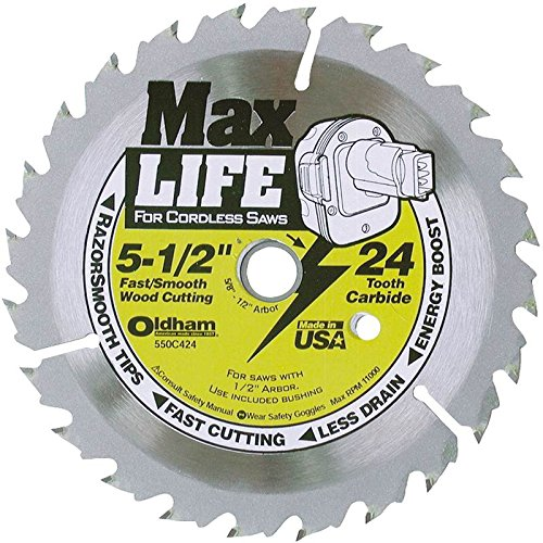 Oldham 550C424 Max Life 5-1/2-Inch 24 Tooth ATB Cordless Saw Blade with 5/8-Inch Arbor