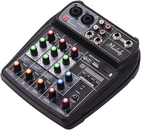 JJmooer AI-4 Tarjeta de sonido compacta Consola de mezclas ...