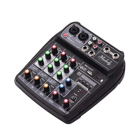 JJmooer AI-4 Tarjeta de sonido compacta Consola de mezclas Mezclador de audio digital Entrada de 4 canales BT MP3 USB + 48V Potencia fantasma para ...