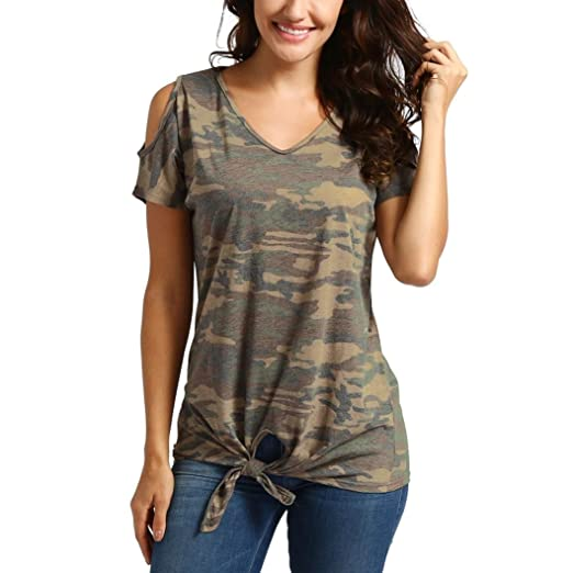 69f72c98e RAIEND Women Casual Cold Shoulder Knot Design Camouflage Tie Tops T-Shirts  Blouse at Amazon Women's Clothing store: