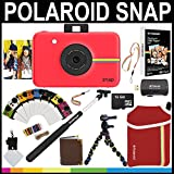 Polaroid Snap Instant Camera (Red) + 2x3 Zink Paper (50 Pack) + Neoprene Pouch + Selfie Pole + Photo Frames + Photo Album + 16GB Memory Card + Accessory Bundle