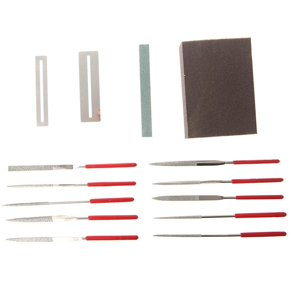 ULKEME14pcs Guitar Instrument Repair Tool Kit Grinding Stone Sponge Frets Nut File Set
