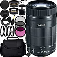 Canon EF-S 55-250mm f/4-5.6 IS STM Lens Bundle with Manufacturer Accessories & Accessory Kit for EOS 7D Mark II, 7D, 80D, 70D, 60D, 50D, 40D, 30D, 20D, Rebel T6s, T6i, T5i, T4i, SL1, T3i, T6, T5, T3