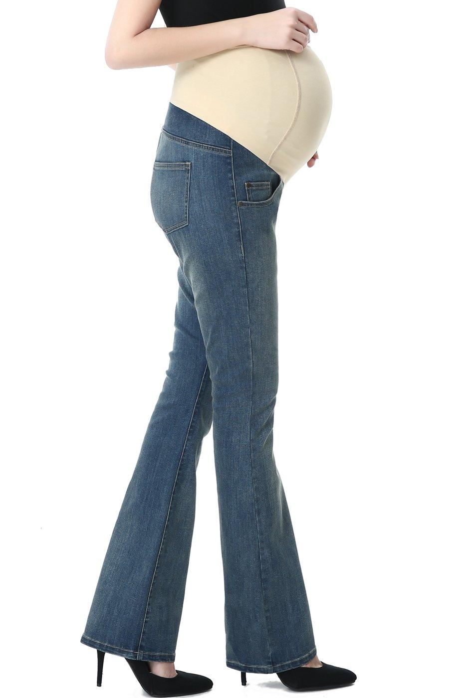Momo Maternity Women's Modern Boot Cut Denim Jeans - Medium Indigo 29