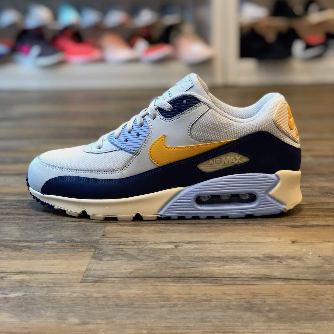 Nike Mens Air Max 90 Essential Running Shoes Pure PlatinumYellow OchreBlue Void AJ1285 008 Size 9.5