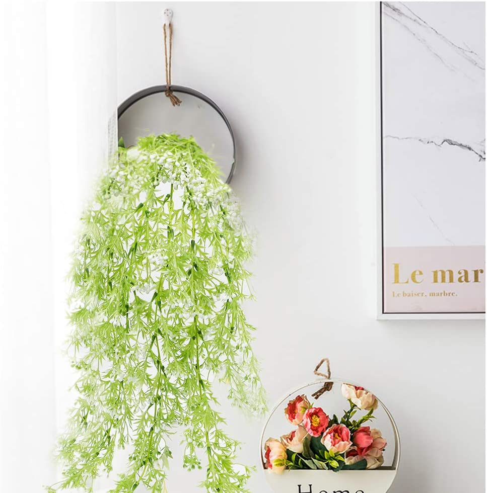 Fake Plants - Artificial Hanging Plants Green Faux Hang Plant, Fake Ivy Vines for Porch Decorations Wall Indoor Outdoor No Fade Greenery Shelves Wedding Garland Decor