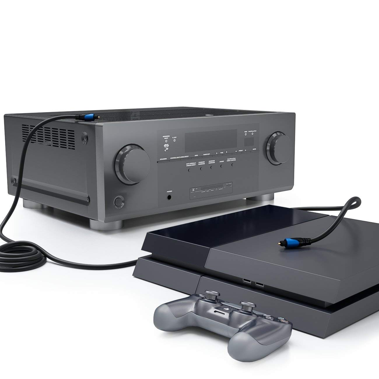 deleyCON MK40 C/âble Audio Digital Optique SPDIF 2x Prises Toslink C/âble Fibre Optique 5m Noir