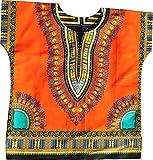 RaanPahMuang Unisex Bright Africa Colour Children Dashiki Cotton Shirt, 8-10 Years Tall, Orange
