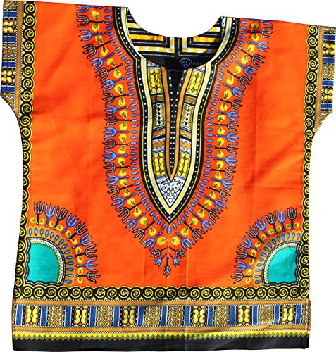 RaanPahMuang Unisex Bright Africa Colour Children Dashiki Cotton Shirt, 8-10 Years Tall, Orange by RaanPahMuang