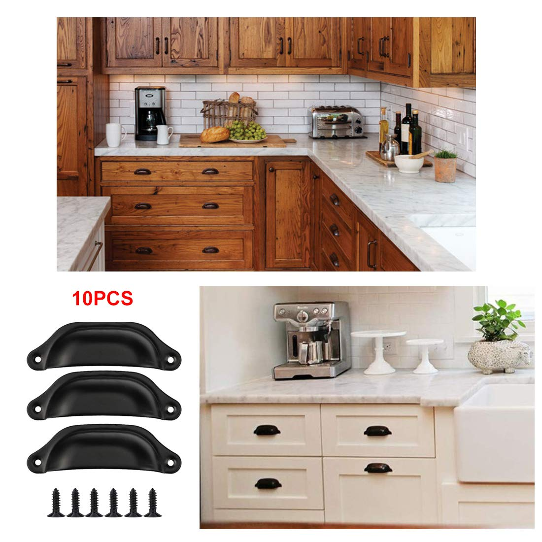 Drenky 10PCS Black Shell Pull Handles 65mm Hole Center Distance Half Moon Vintage Drawer Cupboard Door Cupped Handles Pulls Knobs with Screws