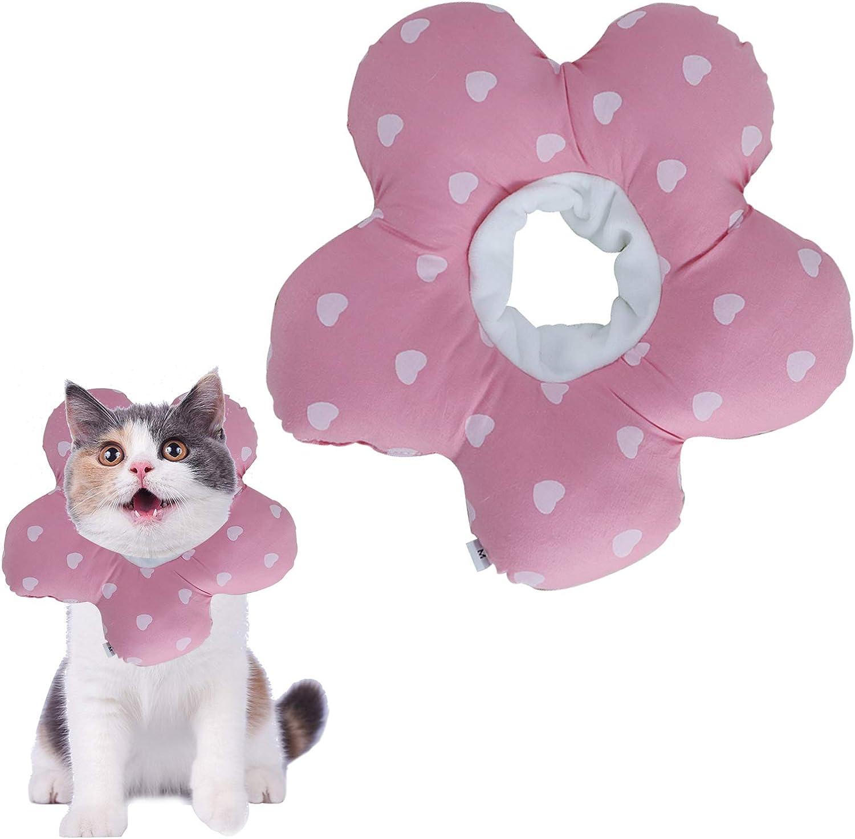 N\O Yemiany Elizabeth Collar de Cuello para Mascotas Collar de algodón Inflable Suave Collar de Cono para Mascotas Ajustable para después de la cirugía Anti-Mordida Lamido(Rosa,Ajustable17-27CM)