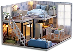 Flever Dollhouse Miniature DIY House Kit Creative Room with Furniture for Romantic Valentine's Gift(Blue Times)