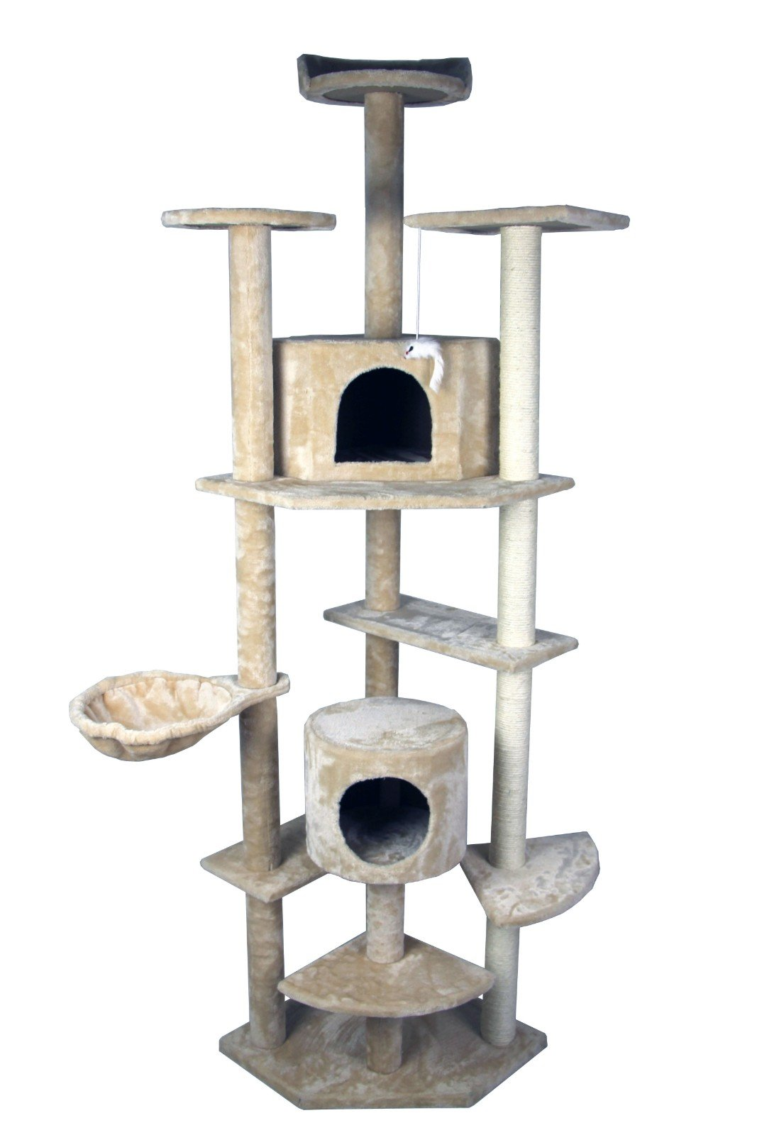 79'' HIDING CAT TREE Tower Condo Furniture Scratch Post Kitty Pet House Play Furniture Sisal Pole and Stairs (Beige) by HIDING