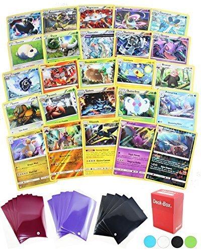 25 Pokemon Rare Card Lot 100 HP or Higher Elite Trainer Kit Cards Free Deck Box with Random Bonus (No Duplicates)