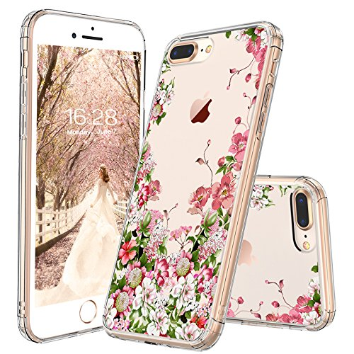 sports shoes 6b71e 5c35e MOSNOVO iPhone 7 Plus Case, iPhone 8 Plus Case, Floral Garden Printing  Flower Clear Design Transparent Plastic Back Case with TPU Bumper Case  Cover ...