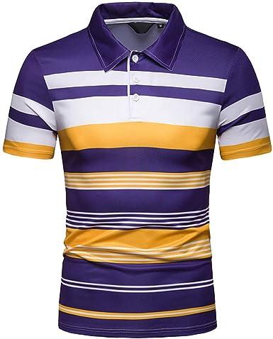 SANGQU Mens Short-Sleeve Polo Shirt,Slim Fit Stand Collar Stripe Top T-Shirt