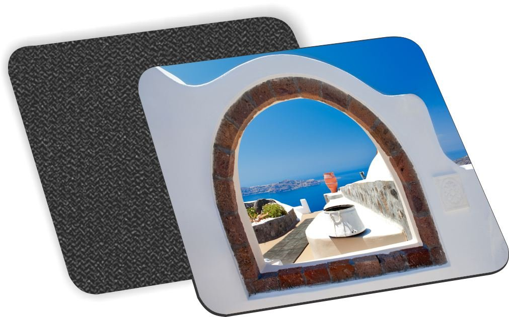 Rikki Knight Greek White Washed Window to Paradise Design Soft Square Beer Coasters (Set of 2), Multicolor