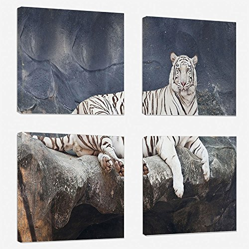 (iPrint 4 Piece Canvas Wall Art Set - Tiger - Modern Home Decor Stretched and Framed Ready to Hang - 24