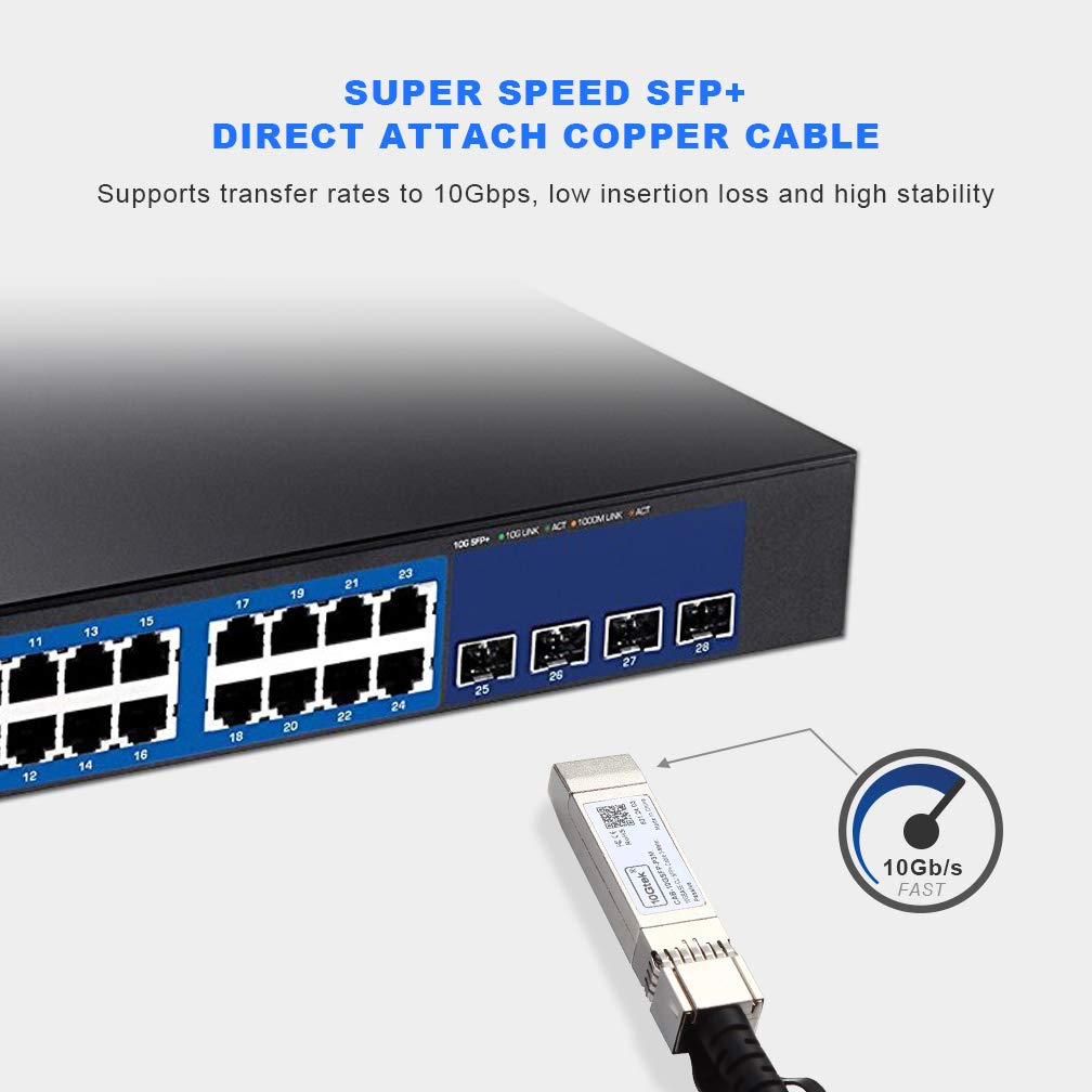 10G SFP+ DAC Cable Netgear 10-Pack D-link 3m Supermicro 10GBASE-CU Passive Direct Attach Copper Twinax SFP Cable for Cisco SFP-H10GB-CU3M ZTE Devices Mikrotik