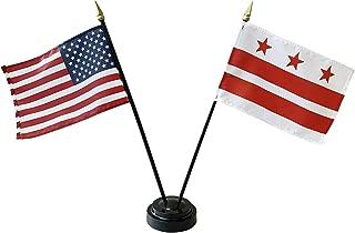 product image for 4x6 E-Gloss Washington D.C. Stick Flag w/U.S. Stick Flag & 2 Flag Plastic Table Base - Qty 6