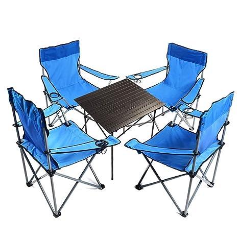 LPYMX - Juego de Mesa y Silla Plegable para Acampada, 4 sillas de ...